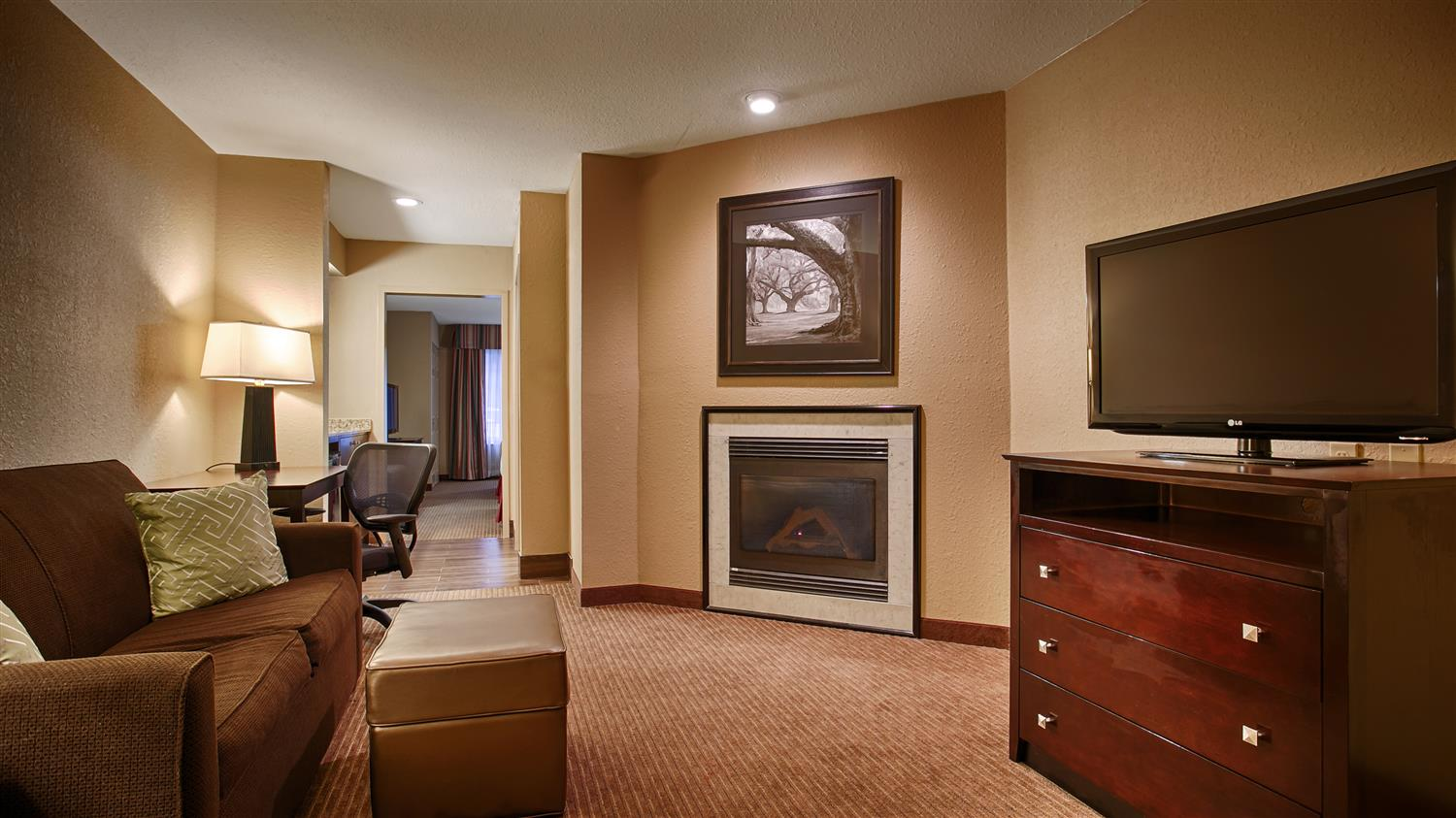 Settle In For The Evening And Relax Our Suite Living Area Guest Room Bath