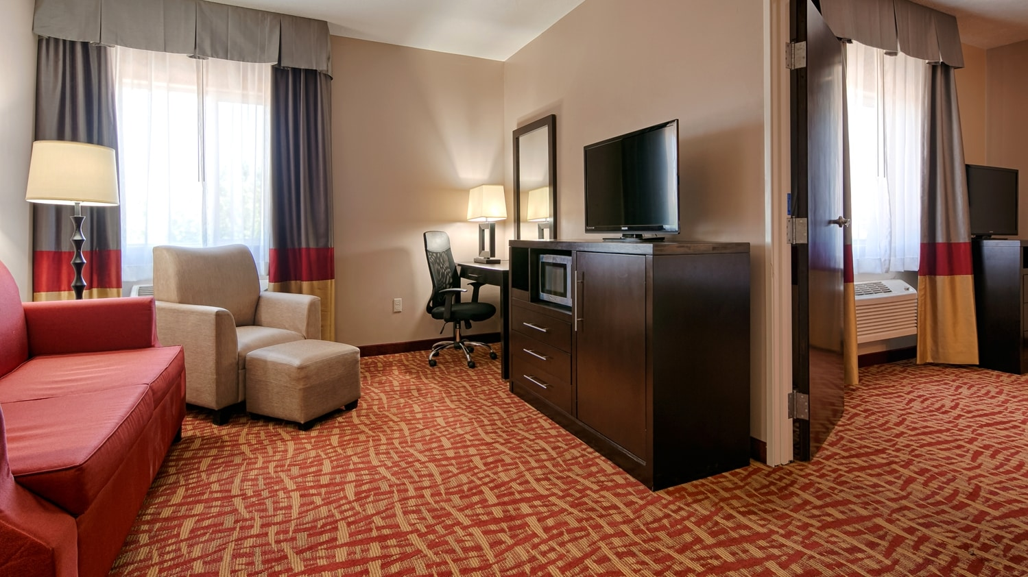 Settle In For The Evening And Relax Our King Suite Living Area